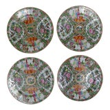 Image of Antique Chinese Qing Rose Medallion Porcelain Nine Inch Plates Traditional Design Set of Four 2 & 2 For Sale