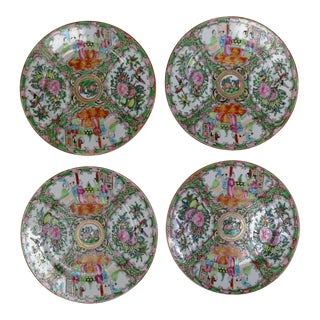 Antique Chinese Qing Rose Medallion Porcelain Nine Inch Plates Traditional Design Set of Four 2 & 2 For Sale