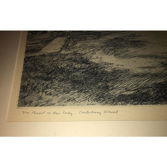 Black Vintage Canterbury School Chapel Etching by Philip Kappel For Sale - Image 8 of 13