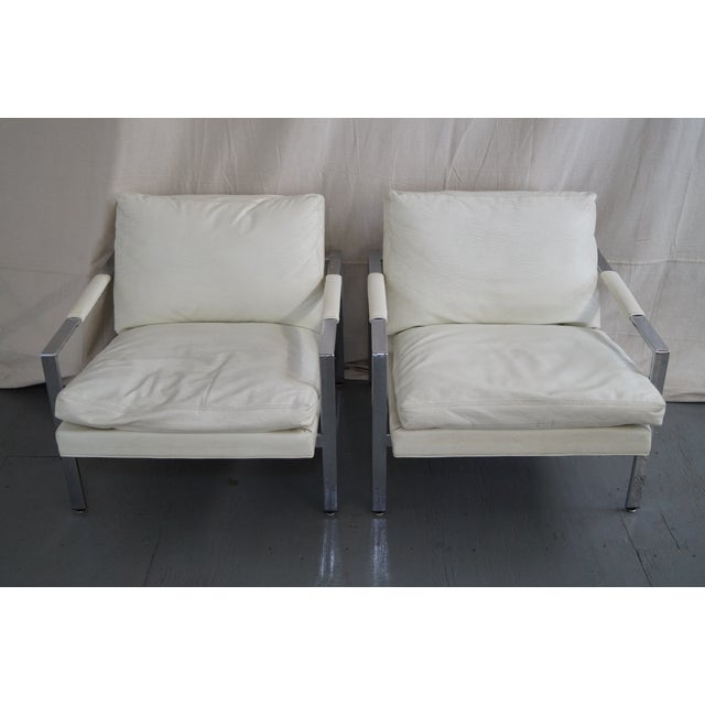 Milo Baughman Pair of Chrome Flat Bar Lounge Chairs AGE/COUNTRY OF ORIGIN: Approx 45 years, Canada DETAILS/DESCRIPTION:...