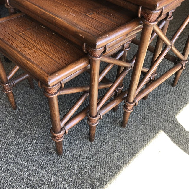 Bamboo Nesting Tables, Set of Three For Sale - Image 4 of 9
