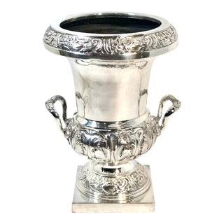 1950s Silver Plated Victorian Champagne Holder Shape Planter/Vase For Sale