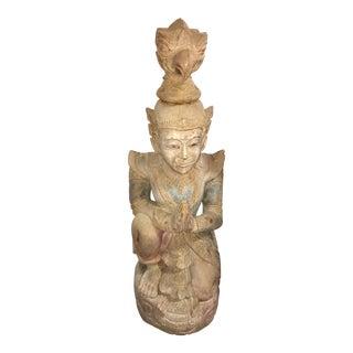 Carved Wood Kneeling Thai Figure