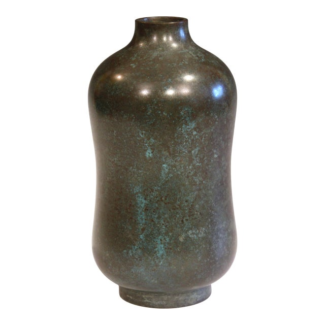 Vintage Bronze Old Japanese Patinated Verdigris Vase For Sale