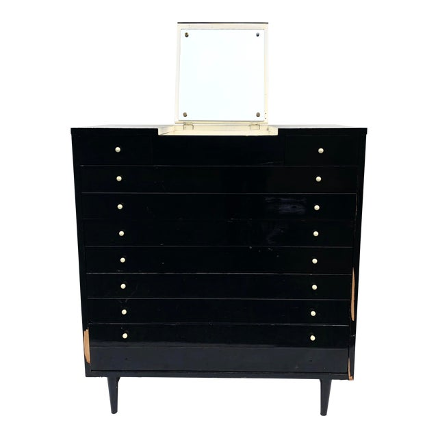 Mid-Century Modern Highboy Dresser W/ Vanity Top by American of Martinsville For Sale