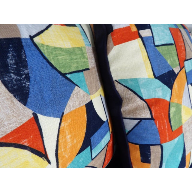 Contemporary Colorful Abstract Custom Made Pillows - a Pair For Sale - Image 3 of 6