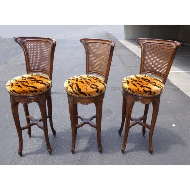 Vintage French Country Wood & Cane Barstools - Set of 3 - Image 5 of 11