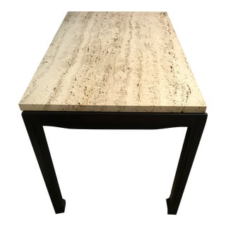 Mid Century Modern Mastercraft Ebony and Travertine Side Table For Sale