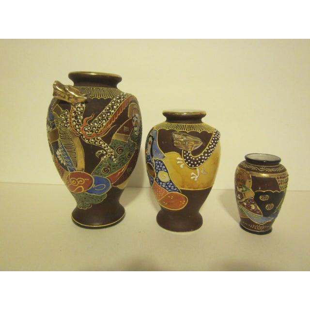 Vintage Japanese Satsuma Vases - Set of Three - Image 4 of 11