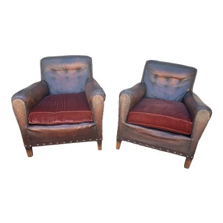 1910s Vintage French Leather and Velvet Armchairs- a Pair For Sale