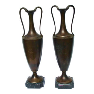 1920s Art Deco Bronze Urns on Marble Mounts - a Pair For Sale