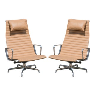 Eames Aluminum Group Lounge Chairs in Camel Leather by Charles & Ray Eames for Herman Miller, Pair For Sale
