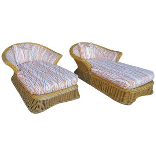 Steve Chase Palm Springs Style Rattan Chaise Lounges - a Pair For Sale