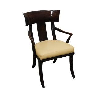 Henredon Empire Klismos Style Leather Seat Armchair For Sale