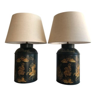 Chinese Style Dark Green Tole Tea Canister Lamps – a Pair For Sale