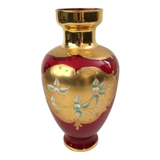 Ruby Red Italian Hand Blown Glass & Painted Gold Floral Vase