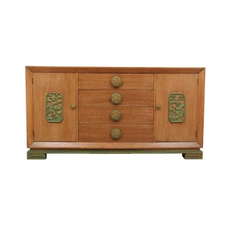 1950's Chinoiserie James Mont Oak Buffet For Sale