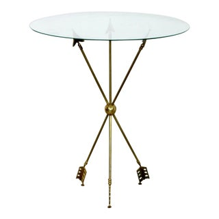 Mid Century Modern Gio Ponti Brass Glass Arrow Accent Occasional Table 60s Italy For Sale