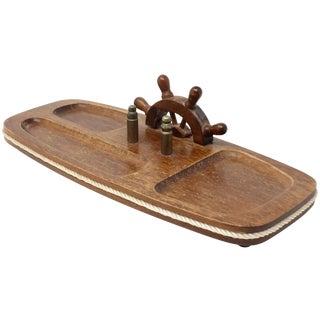 Vintage Wood Nautical Dresser Valet For Sale