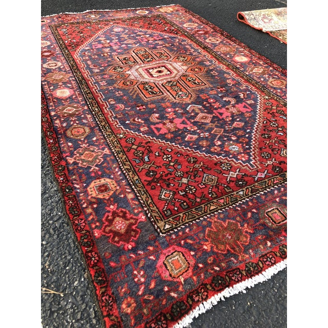 """Turquoise Vintage Persian Hamadan Rug - 3'11"""" x 6'8"""" For Sale - Image 8 of 11"""