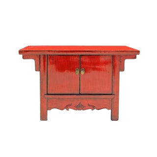 Chinese Distressed Red Short Low Tv Console Table Cabinet