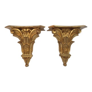 Vintage Italian Gilt Gold Leaf Carved Wall Brackets - A Pair