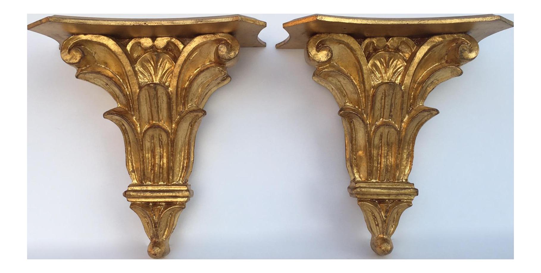 Charmant Vintage Italian Gilt Gold Leaf Carved Wall Brackets   A Pair