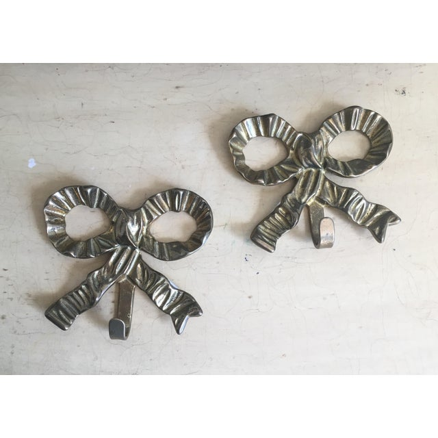 French Art Nouveau Brass Bow Hooks - Pair - Image 2 of 3