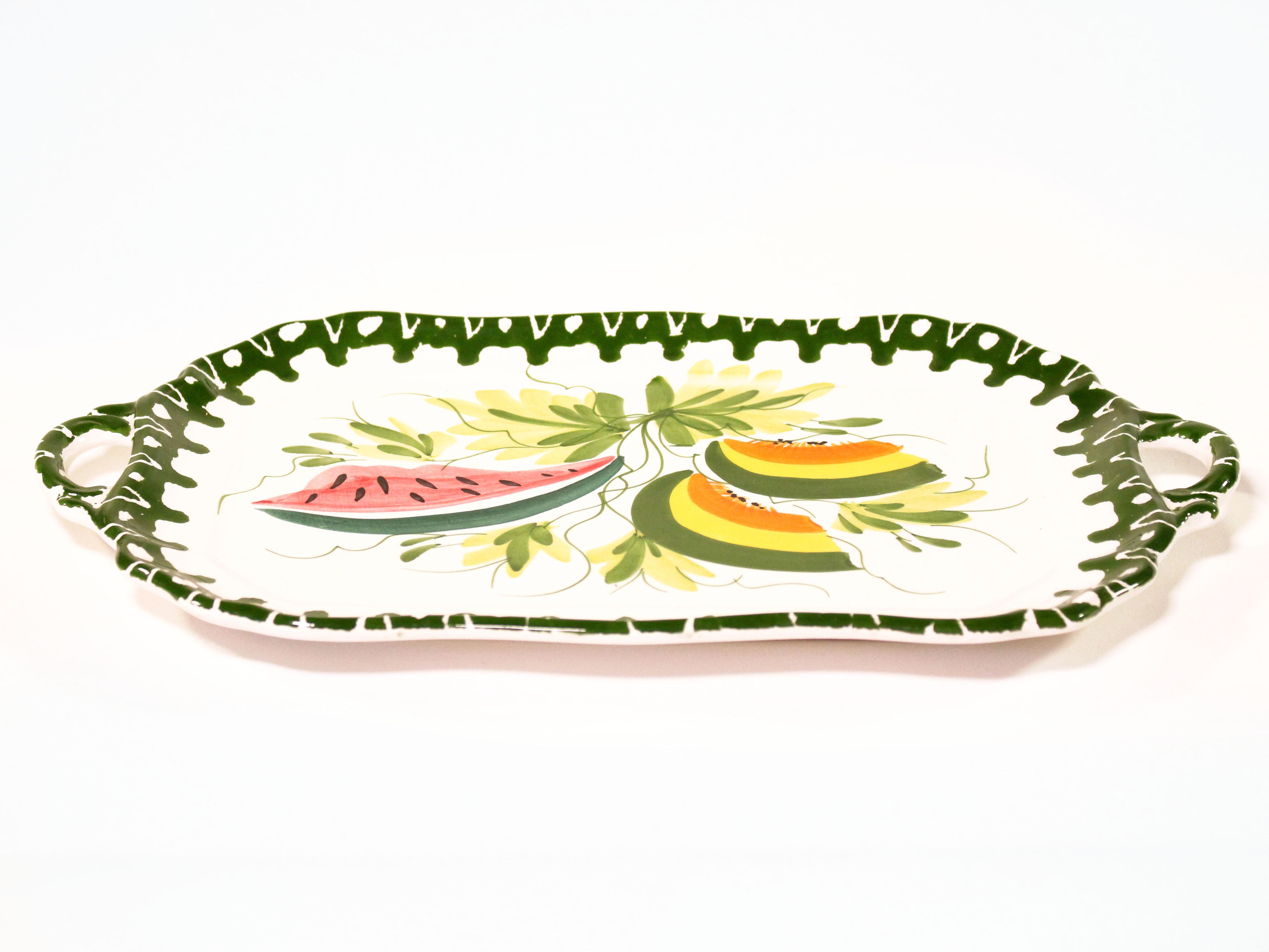 Hand Painted Italian Cartouche Shaped Terra Cotta Handled Tray With  Brightly Colored Melon Slices,