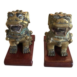 Solid Bronze Finials Adapted to Chinese Palace Vases - a Pair For Sale