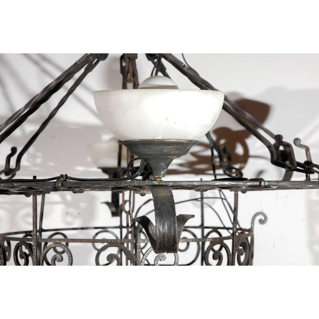 Metal French Iron and Alabaster Fixture For Sale - Image 7 of 10