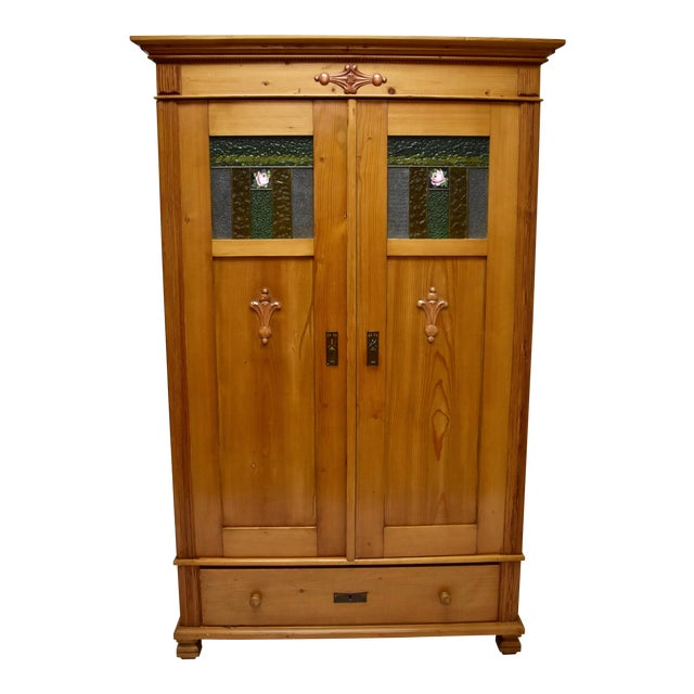 Pine Two Door Armoire With Art Glass Panels For Sale