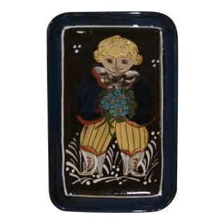 Vintage Kohler Biel Swiss Studio Folk Art Pottery Handcrafted Decorative Tray For Sale