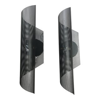 Modern Black Folded Mesh Sconces - a Pair For Sale
