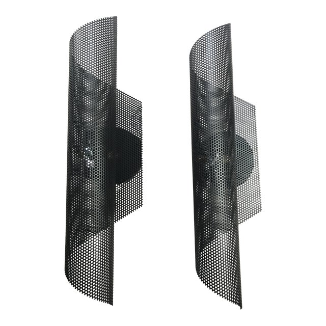 Modern Black Folded Mesh Sconces - a Pair For Sale