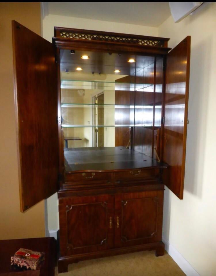 Vintage Century Cherry Wood Bar Armoire Cabinet   Image 3 Of 11