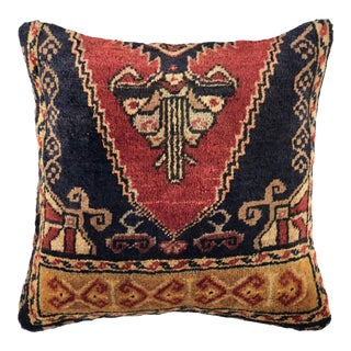 """Hand Knotted Vintage Carpet Pillow 