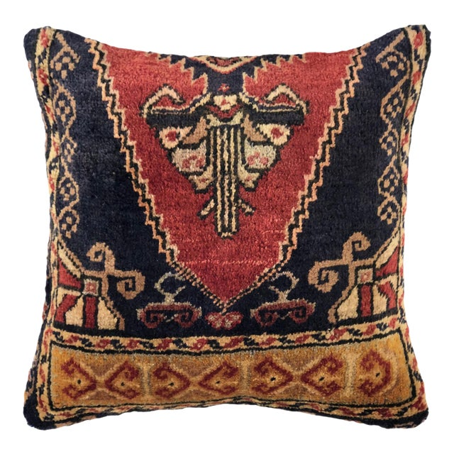 "Hand Knotted Vintage Carpet Pillow | 16"" For Sale"