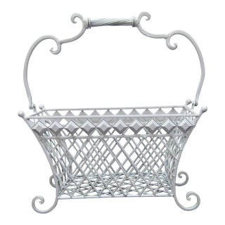 Vintage White Iron Magazine Rack in New White Finish For Sale