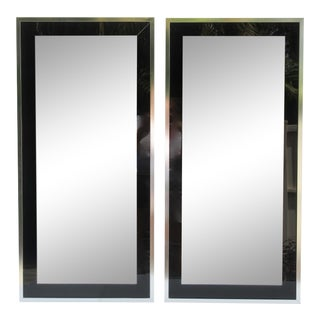C.1970s Mid Century Carver's Guild Chrome & Glass With Black Lucite Mirrors - a Pair For Sale