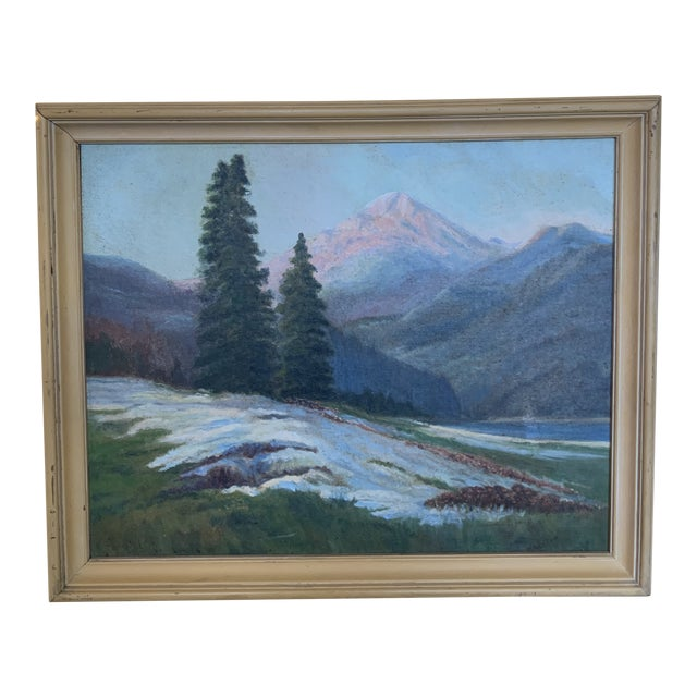 Mountain Landscape With Snow Melt Painting Signed B Weldon For Sale