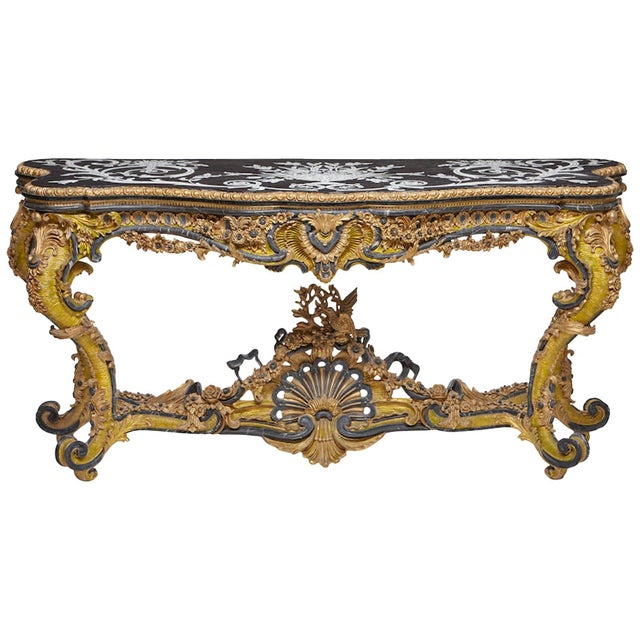 Italian Rococo Style Gilt Console Table For Sale - Image 13 of 13