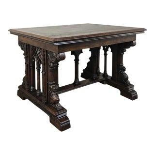 19th Century French Gothic Library Table For Sale