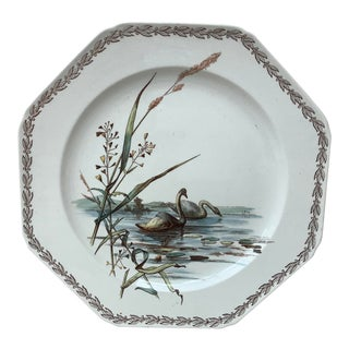 1890s Antique English Octagonal Swans on Lake Brown Westhead and Moore Plate For Sale