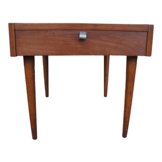 1960s Merton Gershun for American of Martinsville Walnut End Table With Drawer For Sale