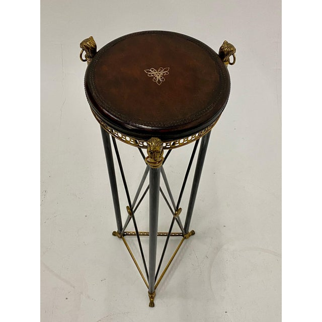 Brown Empire Style Brass Steel and Leather Pedestal For Sale - Image 8 of 9