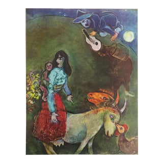 "Marc Chagall Vintage 1947 Rare Lmtd Edtn French Lithograph Print "" La Guitare Endorme "" 1943 For Sale"