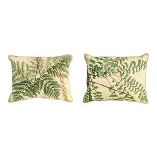Fern Needlepoint Pillows - a Pair For Sale