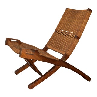 1950s Vintage Teak and Rattan Folding Lounge Chair For Sale