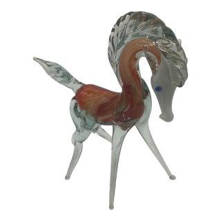 1970s Murano Glass Horse Figurine For Sale